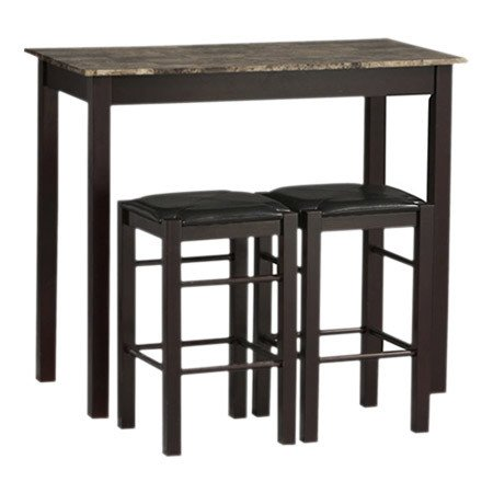 Charlton Home 3 Piece Prosser Collection Faux Marble Counter Height Dining Set, Espresso finish (Countertop Table Sets compare prices)