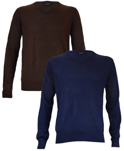Men' s Merino Wool Jumper in Dark Blue XL