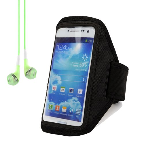 Adjustable Running Sports Gym Armband Case Cover For Samsung Galaxy S4 And S3 (Black) + Green Headphones With Mic