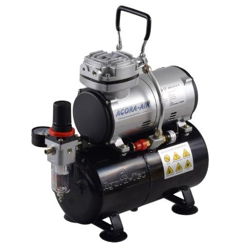 Agora-Tec-Airbrush-Compressor-AT-AC-04-Kompressor-fr-Airbrushanwendungen-mit-4-bar-und-216lmin-inkl-30-L-Tank-inkl-Kondenswasserfilter-und-Druckregler