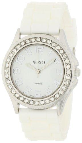 XOXO Women's XO3272 White Dial Crystal Bezel Boyfriend Silicone Rubber Strap Watch