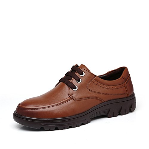 spades-clubs-mens-smooth-leather-casual-trendy-thick-heel-working-platform-shoes-size-6-uk-brown