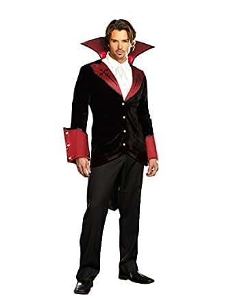 Dreamguy by DG Brands Men's Vampire Light-Up Suit Costume, Just One Bite, Black/Red, Medium