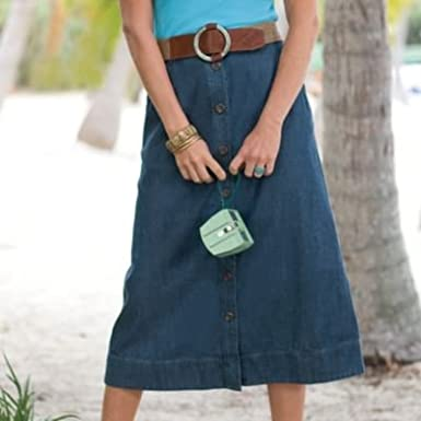 TravelSmith Womens Ultimate Denim Travel Skirt Indigo 10