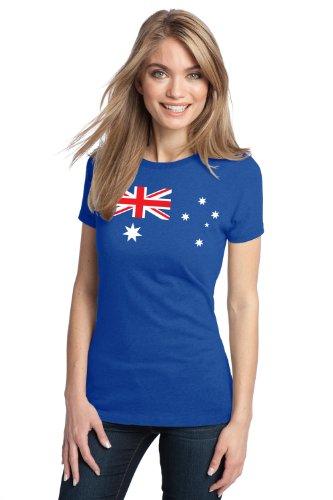 Australia Flag   Cute Aussie, Australian Ladies' T-shirt-Blue-Small (Australian Clothes compare prices)