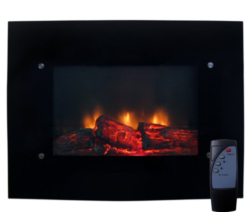 Review Of New Electric Glass Wall Mount Fireplace With Heater & Remote Control