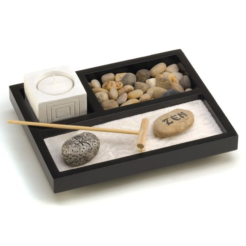 Gifts & Decor Tabletop Zen Sand Rocks Candle Holder Rake Garden Kit