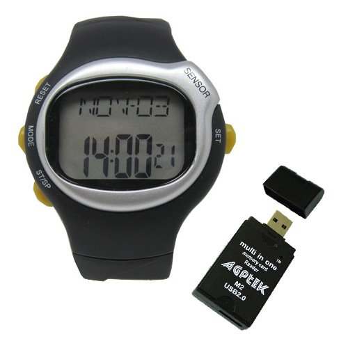 Pulse Sensor Calorie Watch Heart Rate Monitor Calorie Counter Watch w/ AGPtek USB 2.0 All-in-One Card Reader