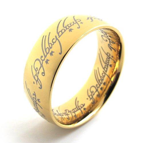 (キチシュウ)Aooazジュエリー メンズステンレス18Kゴールドメッキリング指輪 梵字パターン ゴールド 高品質のアクセサリー 日本サイズ24号(USサイズ11号)