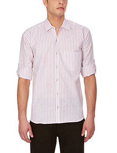 Blue Fire Men's Striped Full Sleeve Slim Fit Poly Cotton Casual Shirt (BF10030242)  available at amazon for Rs.299