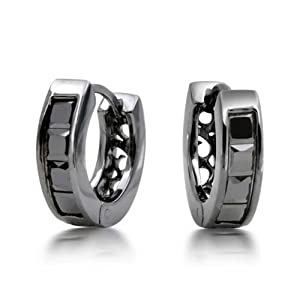 Bling Jewelry 925 Sterling Silver Black Rhodium Princess CZ Huggie Earrings Simulated Onyx Color