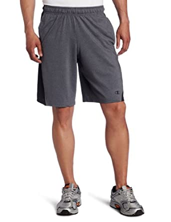 Champion Men's Double Dry Fitted Short, Slate Gray Heather/Black, Large