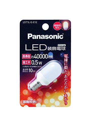 パナソニック LED装飾電球 0.5W(電球色相当) T型タイプ E12口金 10lm LDT1LGE12