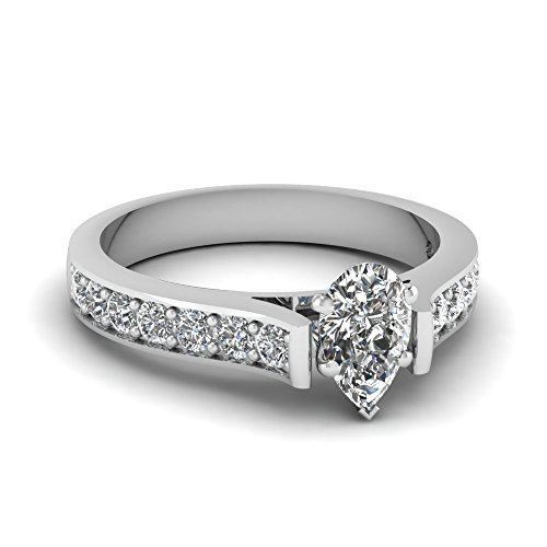 Fascinating Diamonds 1.30 Ct Pear Shaped Diamond Cathedral Engagement Ring Pave Set Si2-F Color Gia