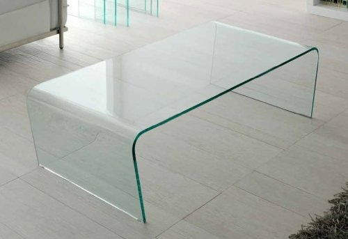 Mesa de centro cristal curvado una pieza