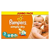 Pampers Simply Dry Nappies Size 3 Jumbo Pack 90 per pack Case of 1