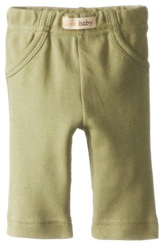 L'Ovedbaby Unisex-Baby Newborn Organic Signature Pants, Sage, 3/6 Months front-1007364