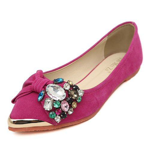 Women's Sweet Style Pretty Metal Decorations Pointed Toe Flat Boat Shoes