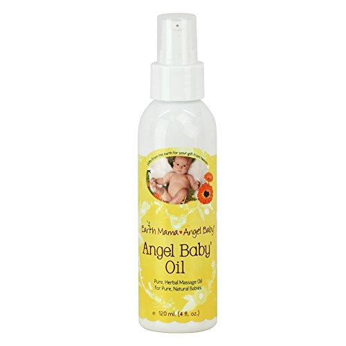 Earth Mama Angel Baby Oil, Natural Moisturizing & Nourishing Infant Massage Oil Infused with Organic Calendula, Unscented Fragrance Free for Sensitive Skin, 4 fl. oz.