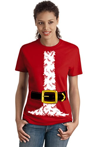 Santa Claus Costume | Jumbo Print Novelty Christmas Holiday Humor Ladies T-shirt