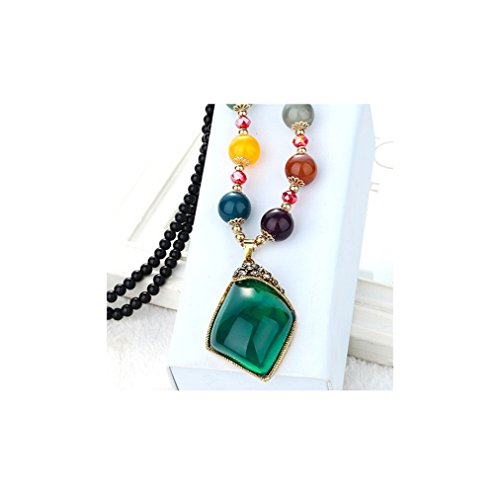 Gorgeous Jewelry Bohemia Colorful Beaded Rhombus Shape Diamond Accented Retro Green Gemstone Necklace (Big Game Platinum Tree Stand compare prices)