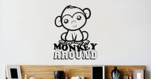 Design with Vinyl 2 Zzz 224 Decor Item Monkey Around Kids School Daycare Playroom Boy Girl Image Quote Wall Decal Sticker, 16 x 16-Inch, Black