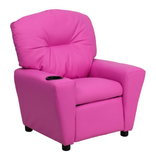 MFO Contemporary Hot Pink Vinyl Kids Recliner with Cup Holder