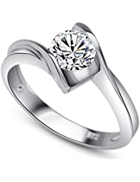 RM Jewellers CZ 92.5 Sterling Silver American Diamond Solitaire Awesome Ring For Women