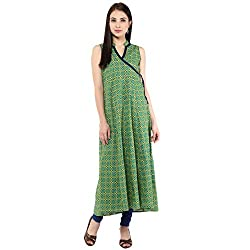 Bhama Couture Green Printed Angrakha Kurti Small