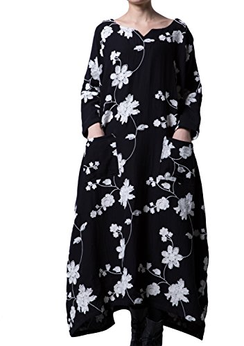 Voguees Women's Plus Size Cotton Maxi Dress With Pockets Black