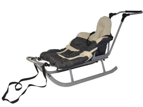Multi Sleigh / Sledge metal with backrest, warm sleeping bag, push handle and strap - Made in EU, Color:Silver