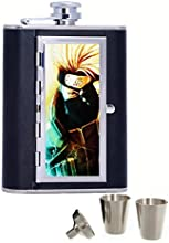 Hatake Kakashi Naruto Art Custom Personalized Printed 6oz Black Faux Leather Hip Flask