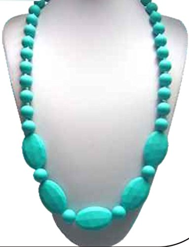 Silicone Food Grade Baby Turquoise Teething Necklace for Nursing Mom - Baltic Amber will stop the pain, this will keep them busy! Drooling babies will love gnawing on this jewelry that moms wear. Perfect for fine motor skills, sensory, autism - 1