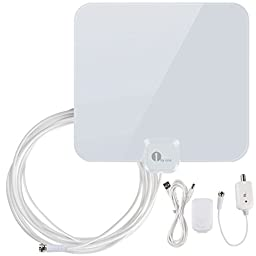 1byone 40 Miles Amplified HDTV Antenna with Detachable Amplifier Booster USB Power Supply to Boost Signal and 16.5ft Coaxial Cable, Shiny White