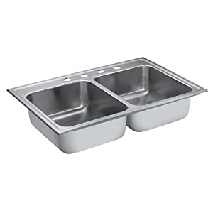 Moen 22213 Camelot 4 Hole Stainless Steel 20 Gauge Double Bowl Drop In Sink, Stainless