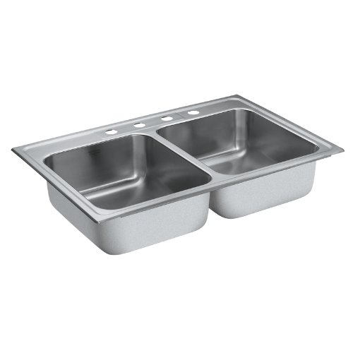 Sale!! Moen 22213 Camelot 4 Hole Stainless Steel 20 Gauge Double Bowl Drop In Sink, Stainless