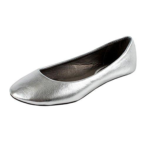 West Blvd Womens BALLET Flats Slip On Shoes Ballerina Slippers, Silver Pu, US 8
