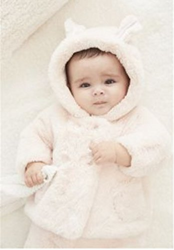 Baby Girls Fur Winter Warm Coat Jacket With Cute Bag Girls Thick Warm Clothes (7-12 months, Pink)