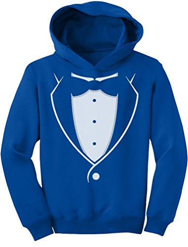 [TeeStars - Kids Tuxedo With Black Bow Tie Funny Toddler Hoodie 5/6 Blue] (Redneck Costume Ideas)