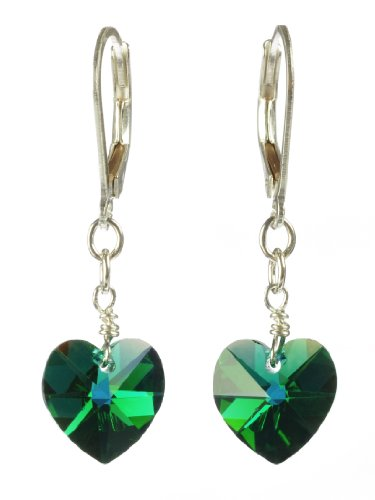 Sterling Silver Swarovski Elements Emerald Colored Aurora Borealis Heart Shape Drop Earrings