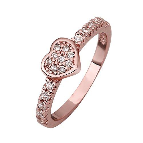 Women'S Wedding 18K Rose Plated Fashion Heart Engagment Ring
