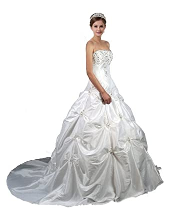 Faironly M58 White Ivory Wedding Dress Bride Gown (XS, Ivory)
