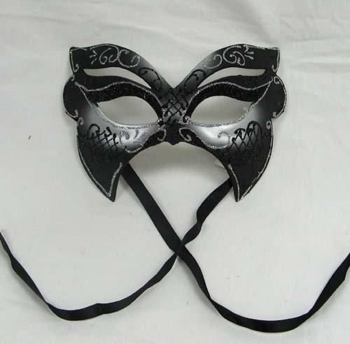 Masquerade Bat Mask with Black and Silver Sparkling Designs