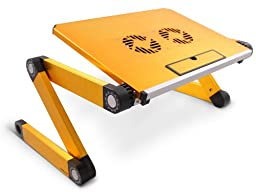 Lavolta Adjustable Vented Laptop Table Aluminium Notebook Desk Portable Stand Tray with CPU Fan Cooling Pad - Yellow Gold