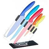 VonShef 5 Piece Multi Coloured Steel Kitchen Knife Set Steak Bread Knife Block Set