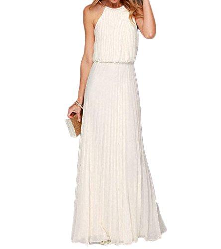 Persun Women's Open Shoulder Cut Out Back Pleated Chiffon Sleeveless Maxi Dress White Medium