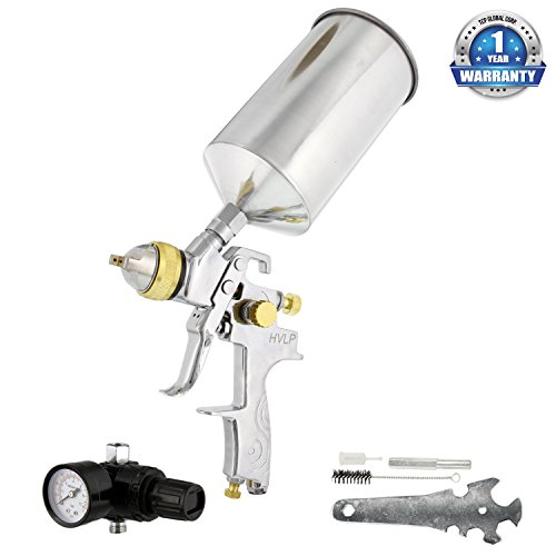 TCP Global® Brand Professional 1.3mm HVLP Spray Gun-gravity Feed-auto Paint Basecoat Clearcoat with Air Regulator (G6600-13) (Clear Coat Spray Gun compare prices)