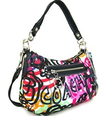 Coach Poppy Graphic Blossom Groovy Convertiable Shoulder Hobo Bag 15590