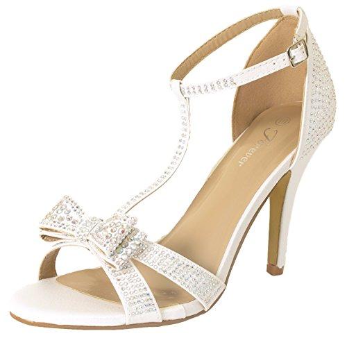 Forever Link Alina-64 Rhinestone Glitter TStrap Bow Detail Formal Heel White 8