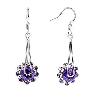 Pugster Feb Birthstone Amethyst Purple Crystal Flower Floral Dangle Earrings